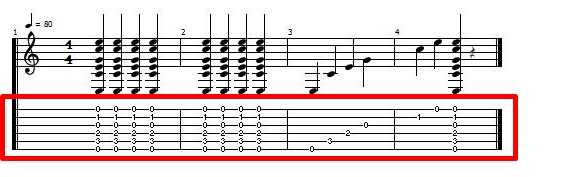 CコードTAB譜